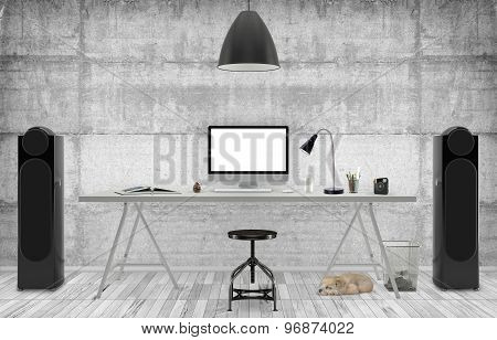 Desktop Mockup 3D illustration just place your creative photo or design on this blank surfaces poster