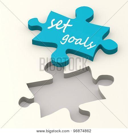 Set Goals On Blue Puzzle