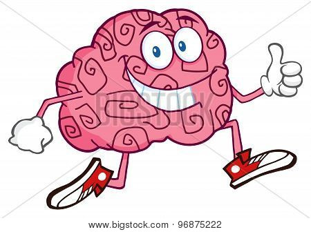 Smiling Brain Cartoon Character