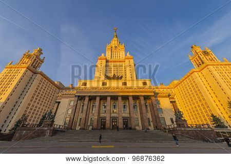 The famous Moscow skyscraper building of the university in the sunset