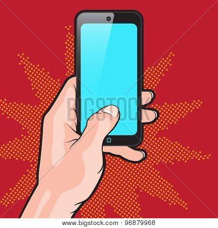 Pop Art Style Mockup with Smartphone in Hand