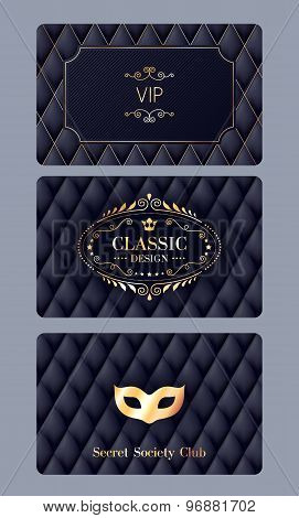 VIP cards with abstract quilted background.