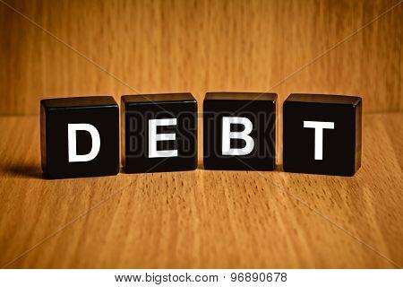 Financial Interest Bearing Debt Word On Black Block