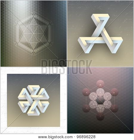 Set of unreal impossible geometric figures, abstract patterns, vector elements for design