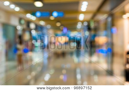Shopping center in blurry for background