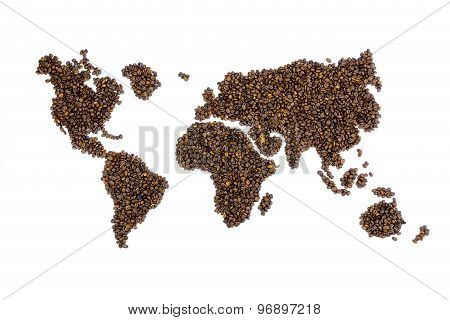 World Map Filled With Coffee Beans