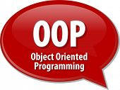 Speech bubble illustration of information technology acronym abbreviation term definition OOP Object Oriented Programming poster
