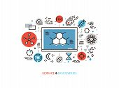 Thin line flat design of STEM academic disciplines science education and knowledge about life evolution chemistry research discovery. Modern vector illustration concept isolated on white background. poster