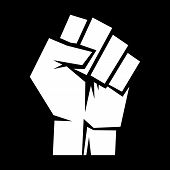 A vector illustration of an aggressive raised fist poster