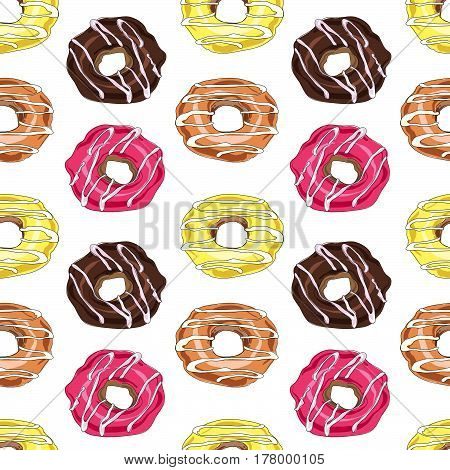 Seamless Pattern With Vector Hand Drawn Donuts