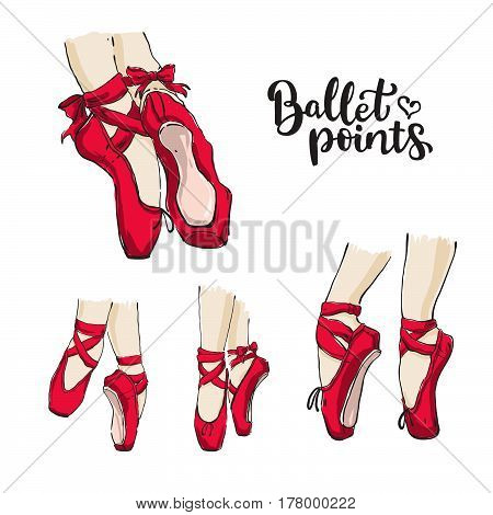 Set Of Vector Hand Drawn Ballet Shoes Points.