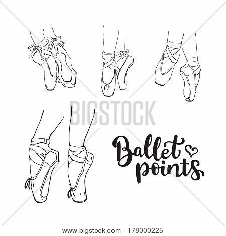 Set Of Vector Hand Drawn Ballet Shoes Points