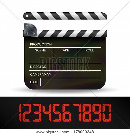 Clapper Board Vector. Digital Film Movie Clapper Board With Red Digital Number