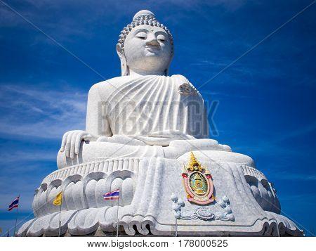 White Big Buddha statue on Phuket Thailand