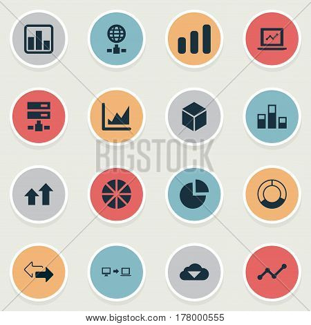 Vector Illustration Set Of Simple Data Icons. Elements Presentation, Increase, Hexagon And Other Synonyms Two, Arrows And Graphic.
