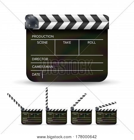 Clapper Board Vector. Black Cinema Clapper Isolated On A White