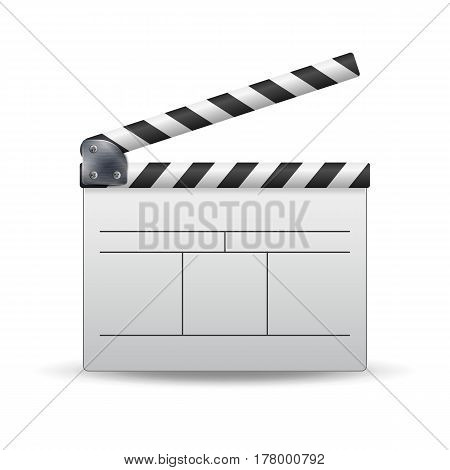 Clapper Board Vector. White Cinema Clapper Isolated On A White