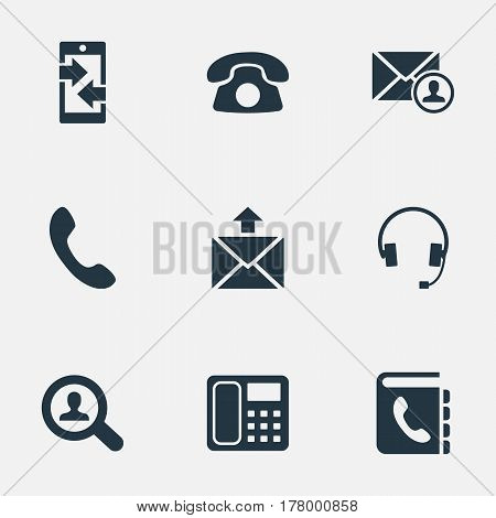 Vector Illustration Set Of Simple Connect Icons. Elements Postage, Telephone Directory, Monitor And Other Synonyms Outgoing, Epistle And Career.
