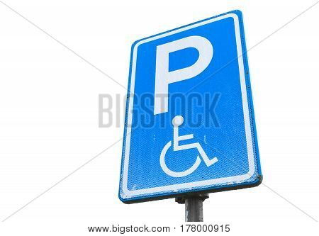 Disabled Parking Permit, Blue Road Sign Isolated