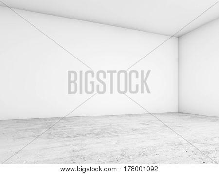 3D White Walls Corner And Concrete Floor