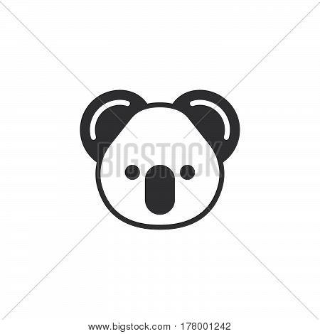 Koala head icon vector filled flat sign solid pictogram isolated on white. Symbol logo illustration