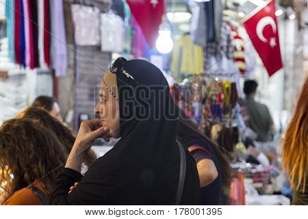Edirne Turkey-September 8 2015: View of people in Arasta Bazaar in Edirne Turkey. The Arasta Bazaar is a tidy market street in the heart of Sultanahmets historical district.