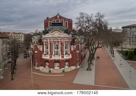 VARNA BULGARIA - MARCH 19 2017: The Dramatic Theater and Opera in Varna Bulgaria. Founded in 1921