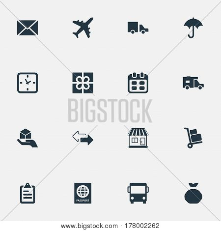 Vector Illustration Set Of Simple Delivery Icons. Elements Holdall, Envelope, Gingham And Other Synonyms Message, Passport And Time.