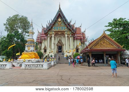 NONG KHAI THAILAND - December 11 2016 : People spend Holiday to travel and pray respect to Luangpho Phra Sai statue at WAT PHO CHAI Temple Mueang Nong Khai Municipality Thailand