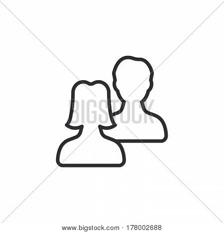 Users friends line icon outline vector sign linear pictogram isolated on white. Symbol logo illustration