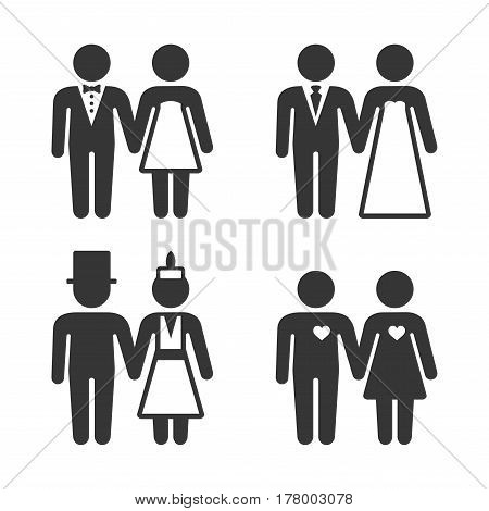 Couple Getting Married Icons Set. Vector illustration