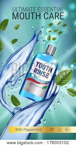 Mouth rinse ads. Vector 3d Illustration with Mouth rinse in bottle and mints leaves. Vertical banner with product on green background.