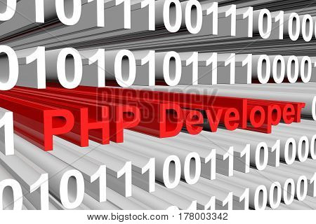 php developer presents in the form of binary code 3d illustration
