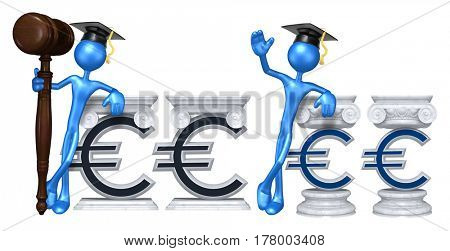 Education Lawyer Leaning On A Euro The Original 3D Character Illustration