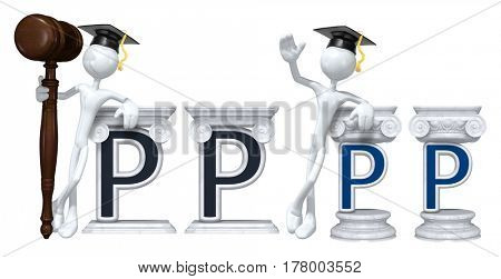 Education Lawyer Leaning On A Letter P The Original 3D Character Illustration