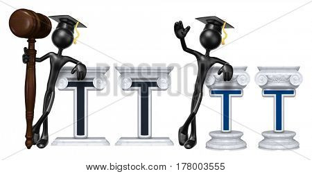 Education Lawyer Leaning On A Letter T The Original 3D Character Illustration