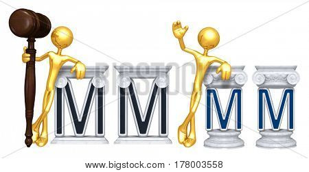 Lawyer Leaning On A Letter M The Original 3D Character Illustration