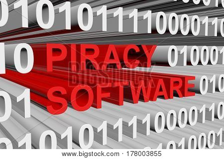 piracy software is presented in the form of binary code 3d illustration