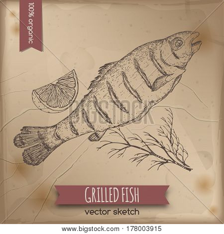 Vintage grilled fish template placed on old paper background. Great for markets, grocery stores, organic shops, food label design.