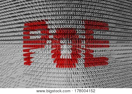 PoE in the form of binary code, 3D illustration