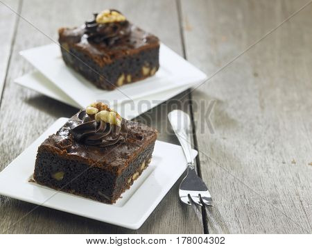 delicious brownie on the wooden background