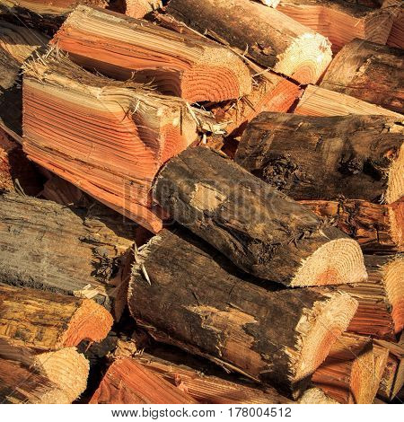 chopped firewood stack  natural firewood - contryside wood objects