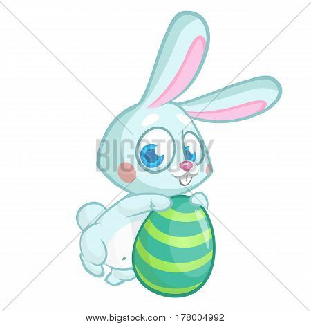 Easter rabbit. Vector bunny holding colorful egg. Isolated on white