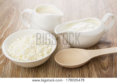 Gravy Boat With Sour Cream, Jug Milk, Cottage Cheese