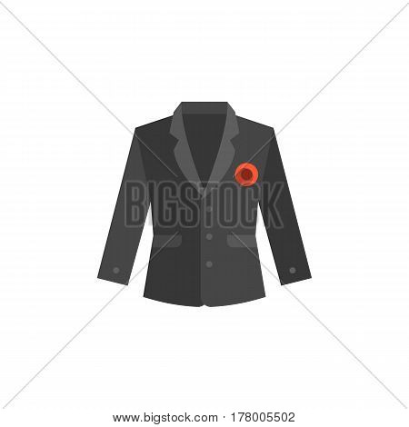 Suit for male with broach pin, flat design vector