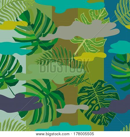 Seamless floral print with palm leaves and spots on stripped background. Beach textile collection.