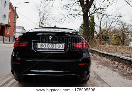 Kiev, Ukraine - March 22, 2017: Black Bmw X6 M Performance At Street.