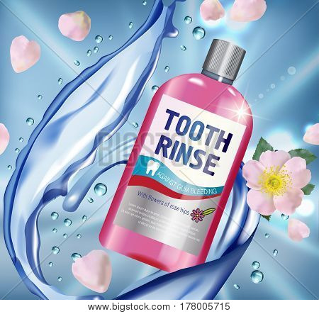 Mouth rinse ads. Vector 3d Illustration with Mouth rinse in bottle and rosehip flower. Poster with product on blue background.