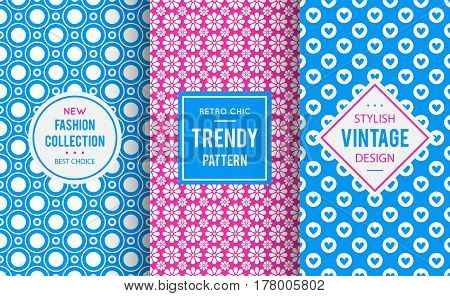 Chic seamless pattern background. Vector illustration for girly design. Abstract geometric frame. Stylish decorative label set Art decoration texture wallpaper package Blue, pink, white color