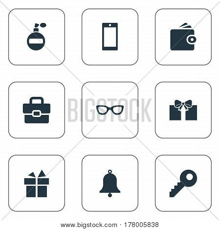 Vector Illustration Set Of Simple  Icons. Elements Eyeglasses, Password, Mobile Phone And Other Synonyms Bag, Billfold And Handbag.